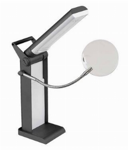 Lampe pliant DEL de bureau avec loupe UNIQUE LIGHTING